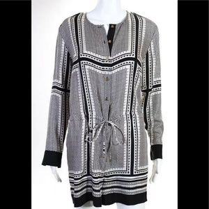 Rachel Zoe black white silk button down romper Sz0
